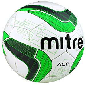 Mitre Ace Recreational Football - White/Grey/Green, Size 5 (Old Version)