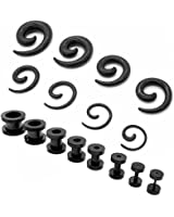 trixes kit 20 pi ces 1 3 mm 10 mm carteurs oreille noir c nes pointes v tements. Black Bedroom Furniture Sets. Home Design Ideas