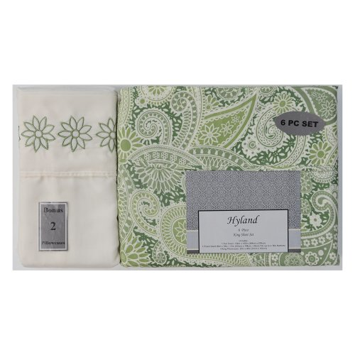 6-Piece Bed Sheet Set : Green Paisley Print, Luxury Soft Microfiber, 2 Extra Pillowcases, Wrinkle Resistant (King) front-1023461
