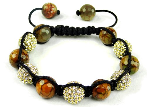 Earth Bangle Shamballa Inspired Bracelet | Brown and Gold Bangle Bracelet | Unisex Crystal Rhinestone Bracelet (By BAGATI CRYSTO)
