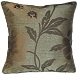 """Antalya Chocolate Cushion Cover 17"""" x 17"""" / 43cm x 43cm Square Designer Poppy Floral Chenille Fabric by Quality Linen and Towels"""
