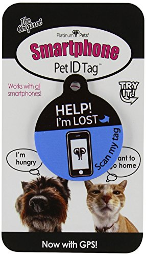 Platinum Pets The Original Smartphone Dog ID Tag with GPS, Medium, Blue