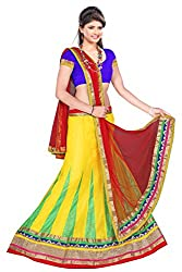 SAILAXMI FASHION Women's Net Lehenga Choli (SLF_LEH_Sansari_01_01_Yellow_Free_size)