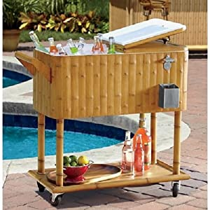 Tiki Tikki 80 Quart Rolling Cooler On Wheels Outdoor Terrace Patio Home Poolside Decor Luau BBQ Drinks Food by Living Home