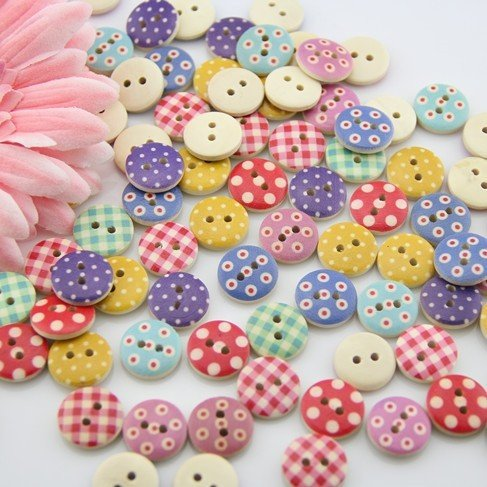 Big Save! 100pcs Mixed Wooden Buttons in Bulk Buttons for Crafts Button Round Colorful Painting Butt...