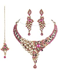 I Jewels Traditional Gold Plated Kundan Necklace Set With Maang Tikka For Women(Rani/Dark Pink & Green)(K7048QG)