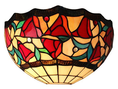 Amora Lighting Am1096Wl12 Tiffany Style One Light Floral Wall Sconce Lamp, 12-Inch front-41500