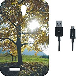 BKDT Marketing Printed Back Cover for Intex Aqua Life 2 With Charging Cable