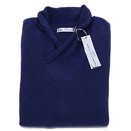 0092N maglione uomo DANIELE ALESSANDRINI lana blu sweater men [50]