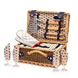 Stylish Wicker Barbecue Picnic Hamper Basket & Built In Chiller Compartment with BBQ Accessories for 4 Persons - Luxury 18th 21st 30th 40th 50th 60th 70th 80th 90th Birthday Gifts for Him Men Husband Dad Father Grandad Brother Son, Retirement Corporate Th