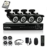 KAREye 1080N Security Camera System 4 Channel Surveillance DVR, 4PCS 720P AHD Bullet IR-Cut IP66 Weatherproof Cameras with 1TB Hard Drive