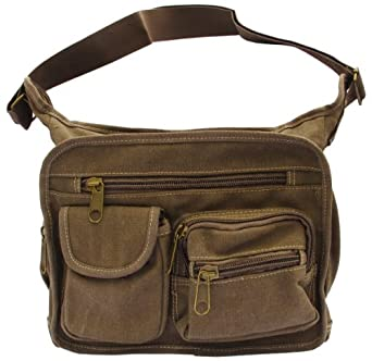Brown Canvas Travel Shoulder Bag