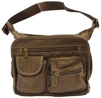 Brown Canvas Travel Shoulder Bag