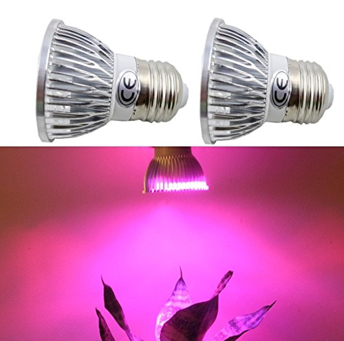 2X Glw Led Grow Light E27 3X1W 3W High Power 2X Red 660Nm +1X Blue 445Nm Plant Lights Lamp Bulb