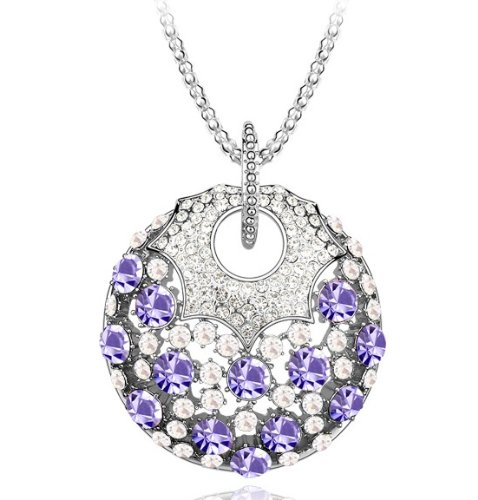 Purplelan-Fashion Necklace Studded With Swarovski Element Crystal Stones Necklace Magical Tanzanite Necklace Dl010