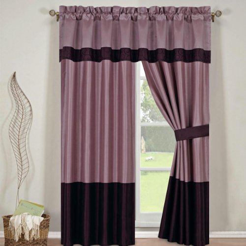 Bed In A Bag Set Wendy Purple 13 Pieces Queen Size Includes 2 Curtains Panels Curtain Store