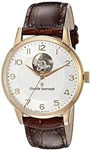 Claude Bernard Men's 85017 37R ABR Automatic Open Heart Analog Display Swiss Automatic Brown Watch