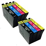 2 x Multipack Epson Compatible Ink Cartridges for Epson SX420W - ALSO COMPATIBLE WITH Printers S22 SX125 SX130, SX420W, SX425W, SX620FW BX305F, BX305FW, BX320FW, BX525WD, BX625FWD, B42WD - Latest Version Double Capacity Inks - T1281 T1282 T1283 T1284 (T1