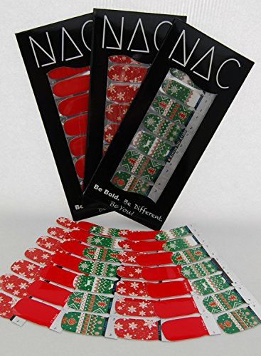 Christmas Nail Stickers - 3 Pack (42 Total Nail Art Wraps) for Stocking Stuffers - Red, Snowflake, Ugly Sweater