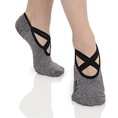 Great Soles Women's Ballet Grip Sock for Barre Pilates Yoga One Size  comfortably fits shoe sizes 6-10, Juliet Ivory/Black