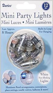 Darice VL429 Non Blinking Mini Party Lites, White, 12 Per Pack