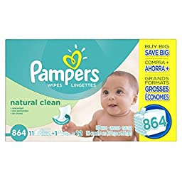Pampers Natural Clean Wipes 12x Box with Tub 864 Count