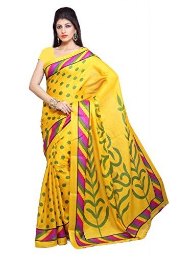 ISHIN Bhagalpuri Silk Yellow Saree