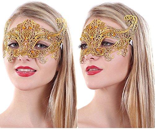 Colorful regolabile con lacci EF Mask- da donna in metallo tagliato al laser Pretty Maschera acrilico con fori per feste di Halloween e fotografia