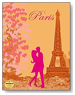 Kissing In Paris Notebook - For the pink Paris-loving romantic! A couple kissing at the Eiffel Tower is the focal point of the cover of this wide ruled notebook.