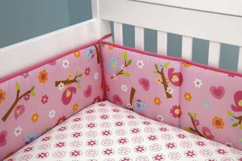 Little Bedding Traditional Padded Bumper, Sweet Lil Birds front-980949