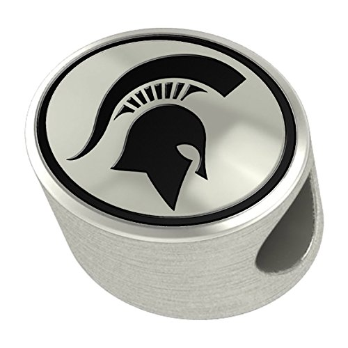 Michigan State Spartans Silver Antiqued Bead Fits Most European Style Charm Bracelets