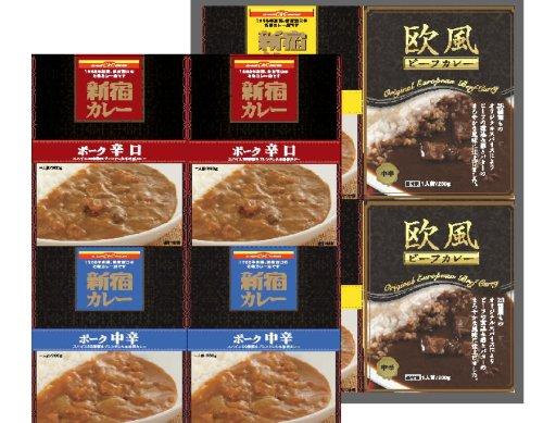 カレーショップC&C 新宿駅の味!8個バラエティセット 200g×8個(マイルド・中辛・辛口・欧風ビーフ各2個、化粧箱入り)