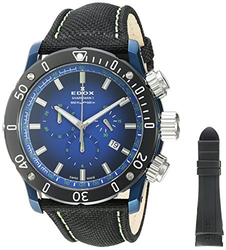 Edox-Mens-Chronoffshore-1-Swiss-Quartz-Stainless-Steel-and-Nylon-Diving-Watch-ColorBlack-Model-10221-357BU-BUV