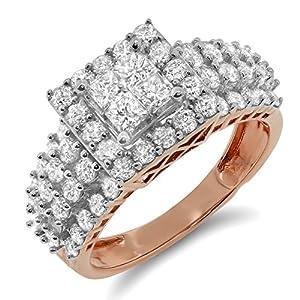 2.00 Carat (ctw) 10k Gold Princess Cut Round Diamond Ladies Halo Style Engagement Wedding Ring Band 2 CT - Rose-gold, Size 13