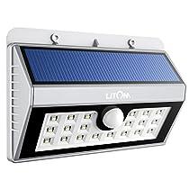 Litom 20 Big LED Solar Sensor Powered Wall Lights Weatherproof for Outdoor(Silver)