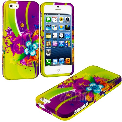 "myLife (TM) Yellow + Purple Flower Power Series (2 Piece Snap On) Hardshell Plates Case for the iPhone 5/5S (5G) 5th Generation Touch Phone (Clip Fitted Front and Back Solid Cover Case + Rubberized Tough Armor Skin + Lifetime Warranty + Sealed Inside myLife Authorized Packaging) ""ADDITIONAL DETAILS: This two piece clip together case has a gloss surface and smooth texture that maximizes the st at Amazon.com"
