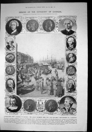 old-original-antique-victorian-print-champlains-landing-canada-ship-don-de-dieu-pageant-1908-222j683
