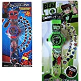 SPIDERMAN-BEN10 KIDS PROJECTOR WATCH SET OF 02-FM