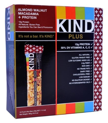 KIND PLUS, Almond Walnut Macadamia + Protein, Gluten Free Bars (Pack of 12)