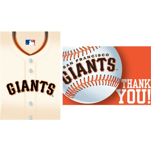 San Francisco Giants Invitations Thank You Notes 16 Pack