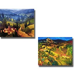 Tuscan Valley View & Provencal Landscape by Philip Craig 2-pc Stretched Canvas Set (Ready-to-Hang)