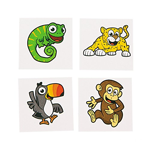 Safari Temporary Tattoos - Safe and non-toxic (72 Pieces)