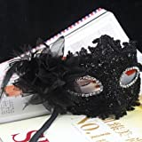 Nsstar Lace with Rhinestone Liles Venetian Mask Masquerade Halloween Costume (Black)