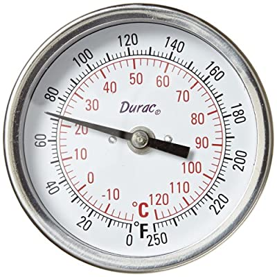 """H-B Instrument DURAC Bi-Metallic Dial Thermometer, 3""""/75mm Dial, Fahrenheit and Celsius Readings, with NPT Threaded Connection"""
