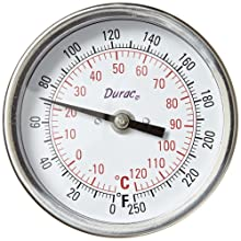 "H-B Instrument DURAC Bi-Metallic Dial Thermometer, 3""/75mm Dial, Fahrenheit and Celsius Readings, with NPT Threaded Connection"