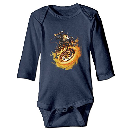 [DETED Ghost Rider Logo Funny Newborn Baby Romper Jumpsuit Size18 Months Navy] (Blue Ghost Pill Costume)