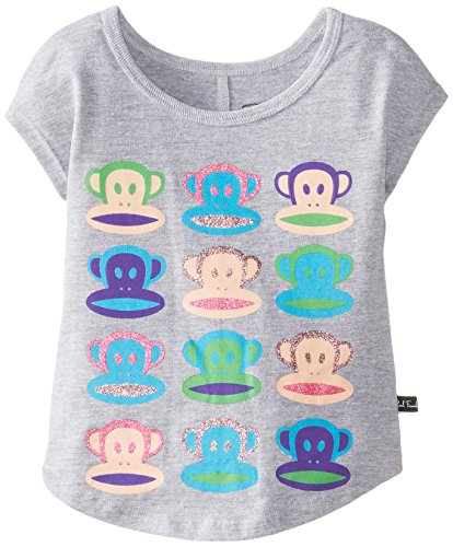 Paul Frank Little Girls' Neon Julius Dolman Sleeve Tee, Grey Heather, 6X front-823762