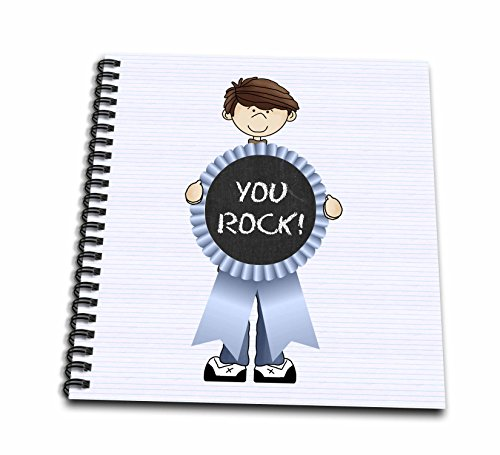 3dRose db_203392_2 Little Red Headed Boy with Blue You Rock Ribbon Memory Book, 12 by 12""