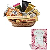 Anniversary Greeting Card With Thank You Gift Basket