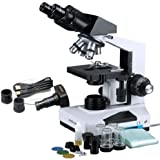 AmScope B490B-5M Digital Compound Binocular Microscope, WF10x and WF20x Eyepieces, 40X-2000X Magnification, Brightfield, LED Illumination, Abbe Condenser, Double-Layer Mechanical Stage, Sliding Head, High-Resolution Optics, Anti-Mold, Includes 5MP Camera with Reduction Lens and Software